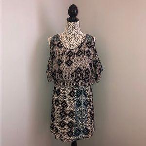 Angie Cold Shoulder Elastic Waist Mini Dress